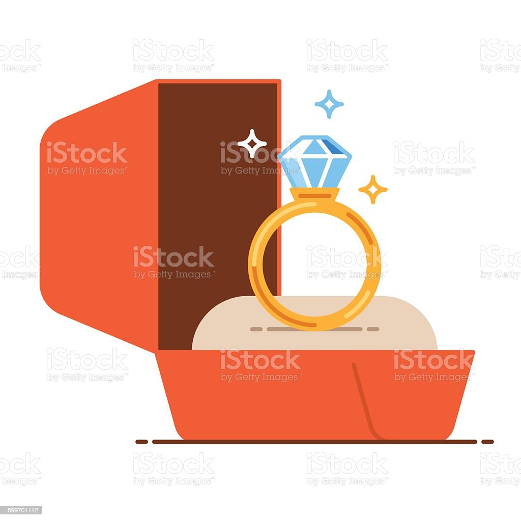 Wedding golden ring in a gift box. Save the date vector art illustration