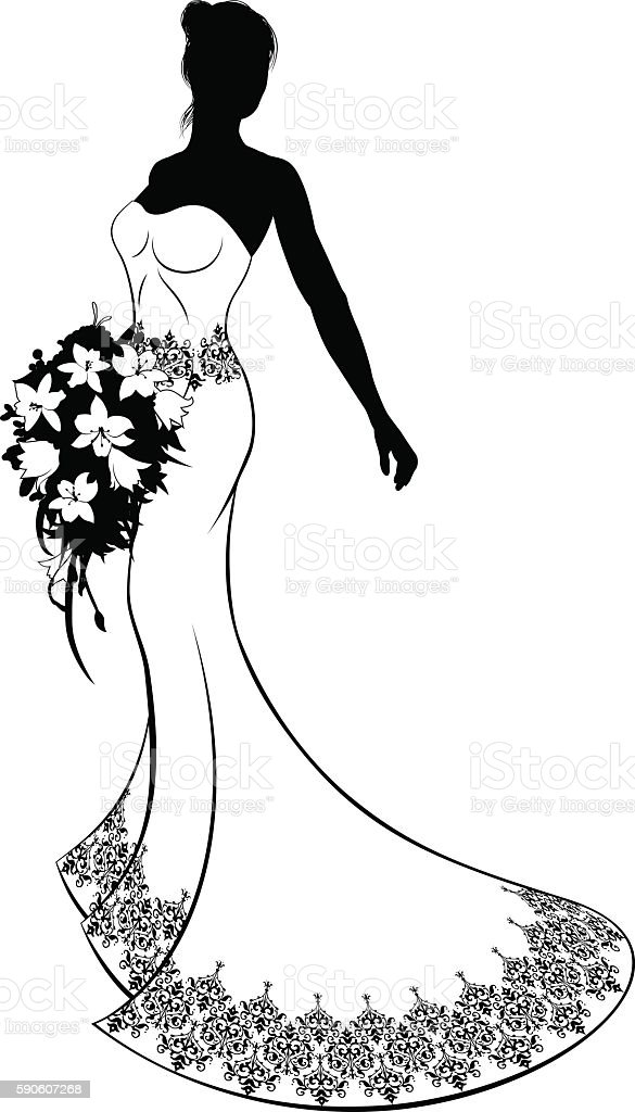 Wedding Gown and Flowers Bride Silhouette vector art illustration