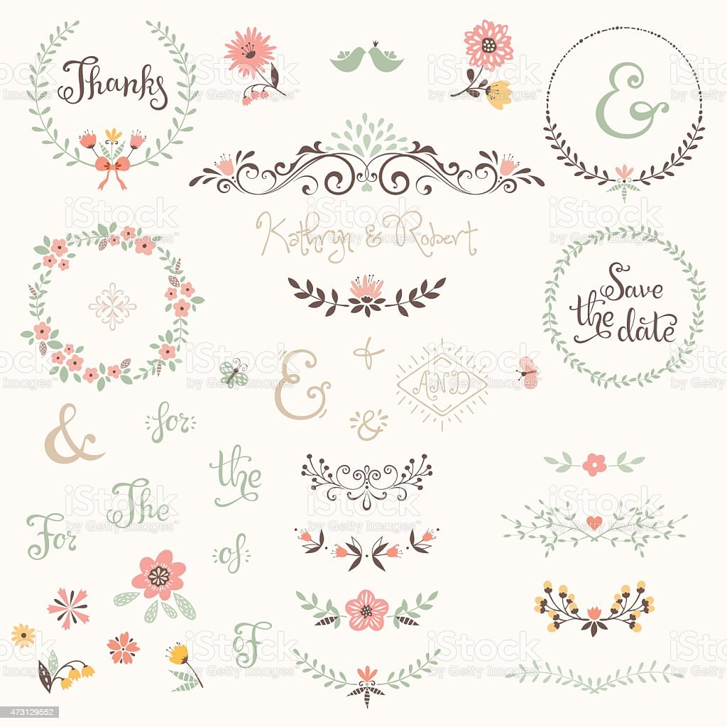 Wedding Graphic Set vector art illustration