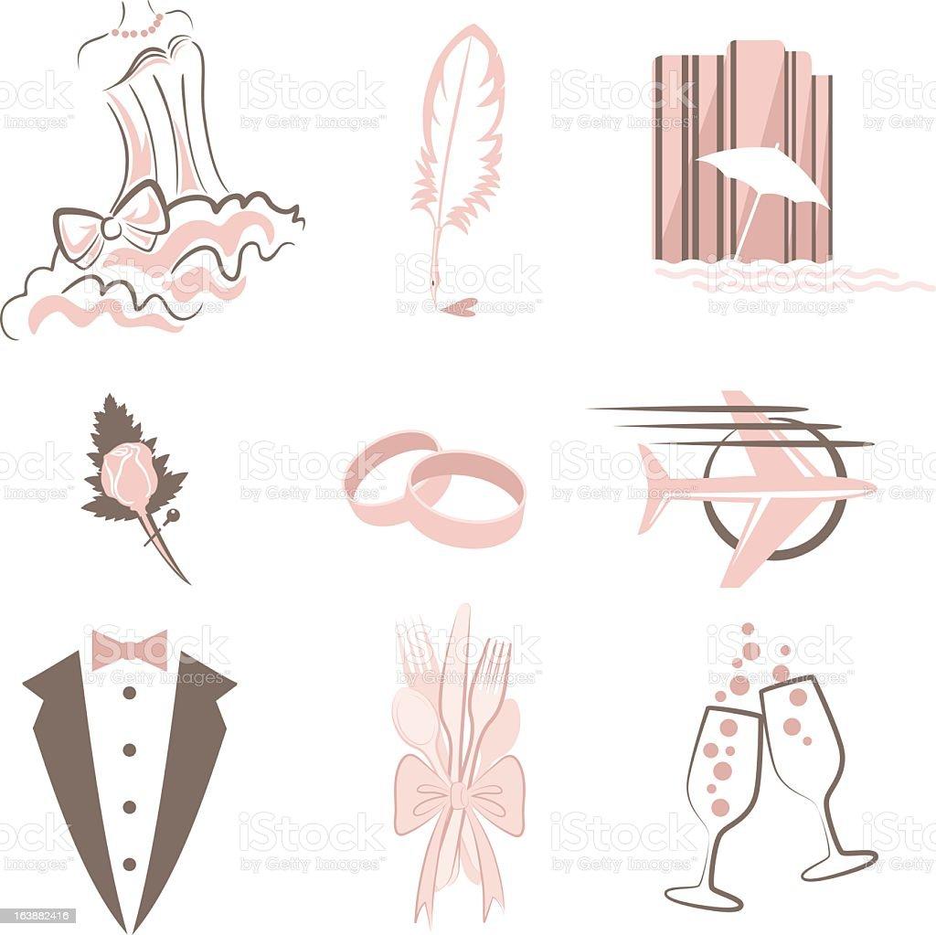 Wedding Icon Set vector art illustration