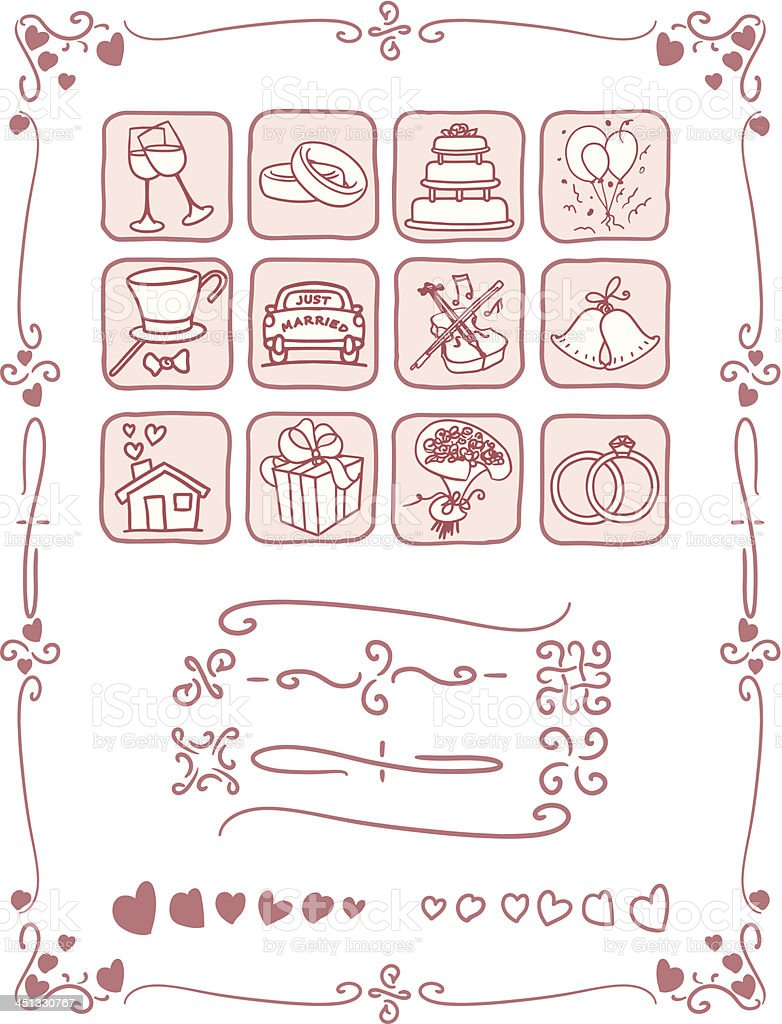 Wedding Icons and Frame Set royalty-free stock vector art