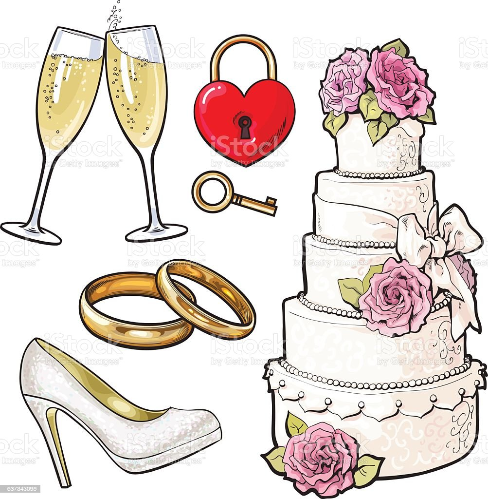 Wedding icons - cake, rings, glasses of champagne and lock vector art illustration