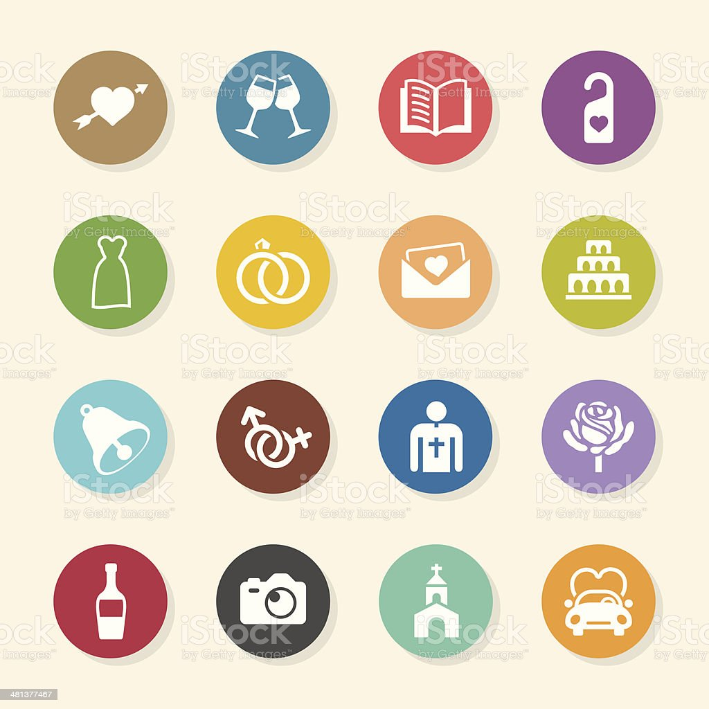 Wedding Icons - Color Circle Series vector art illustration