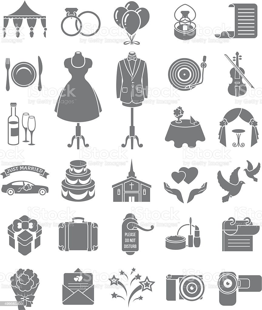Wedding Icons Dark Silhouettes vector art illustration