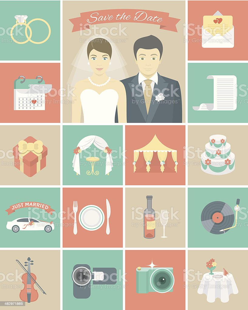 Wedding Icons in Squares vector art illustration