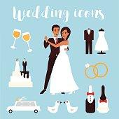 Wedding icons set. Bridal ceremony, car, dress and groom bride