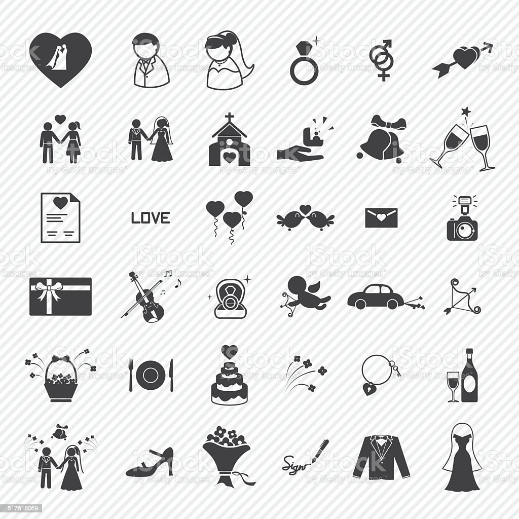 Wedding icons set. illustration eps10 vector art illustration
