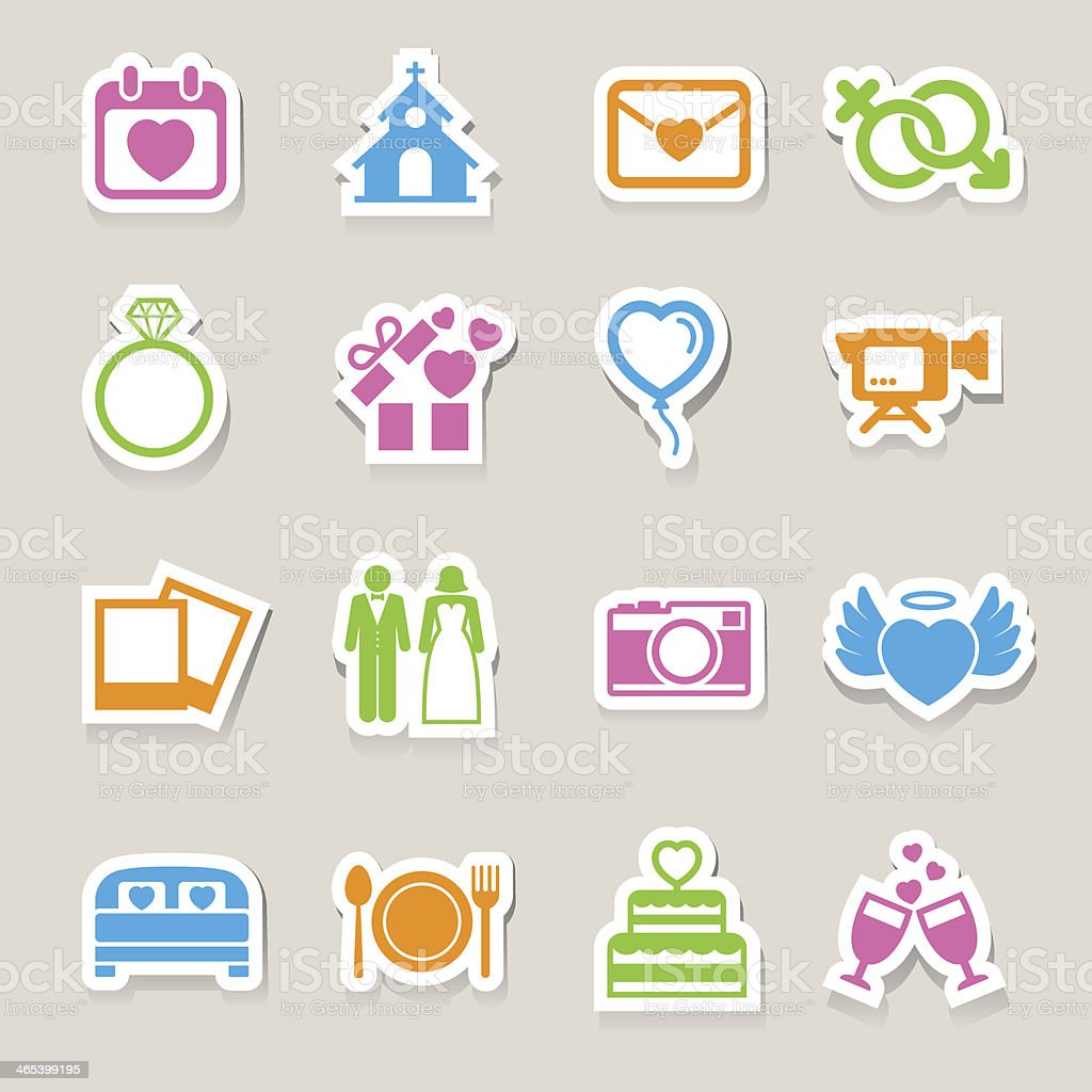 Wedding icons set. vector art illustration