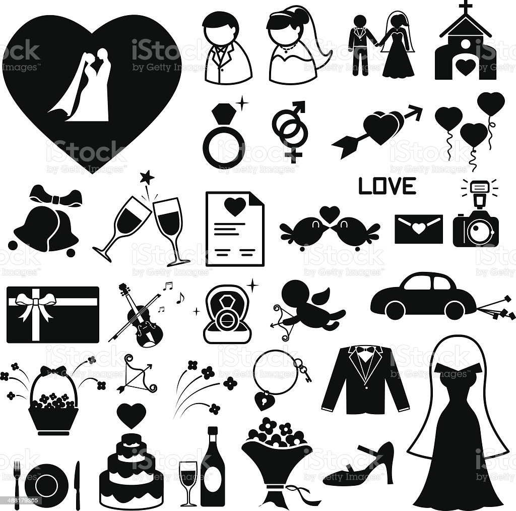Wedding icons set vector art illustration