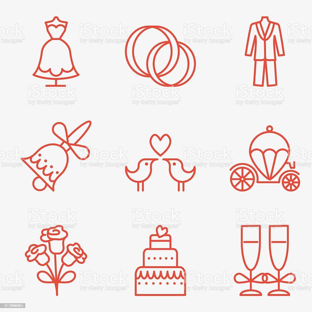 wedding icons vector art illustration