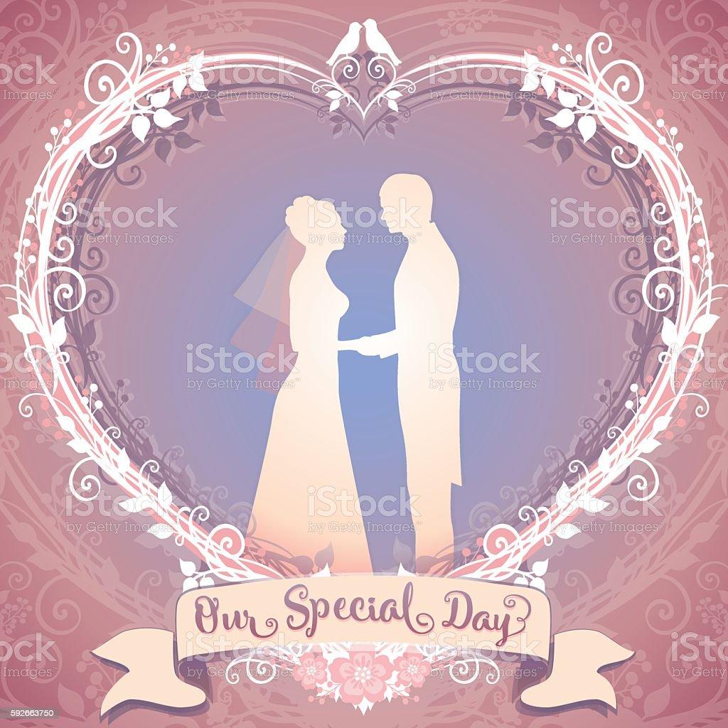Wedding illustration. Bride and Groom framed in the floral heart vector art illustration
