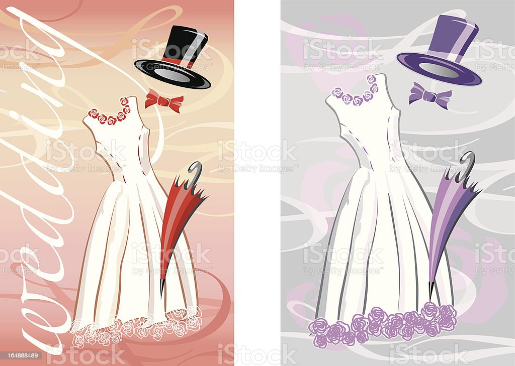wedding in red and purple royalty-free stock vector art