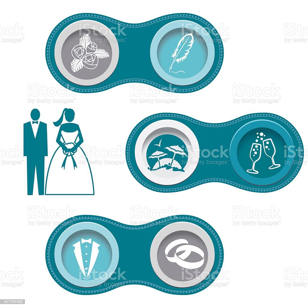 Wedding Infographic Borders With Icon Set vector art illustration