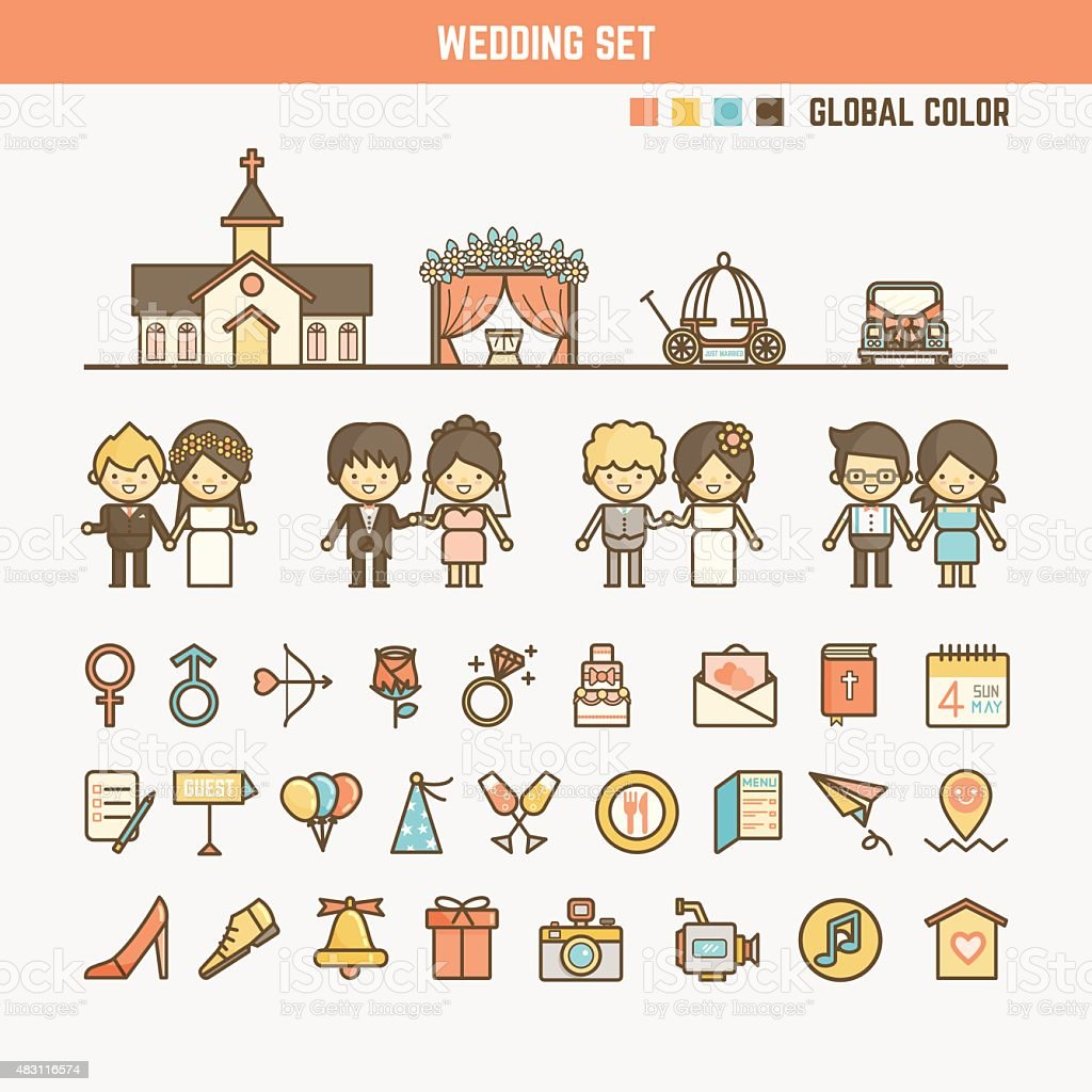 wedding infographic elements for kid vector art illustration