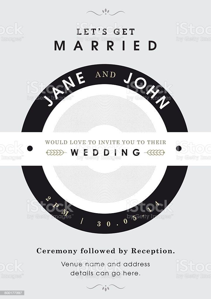 Wedding invitation black and grey theme royalty-free stock vector art