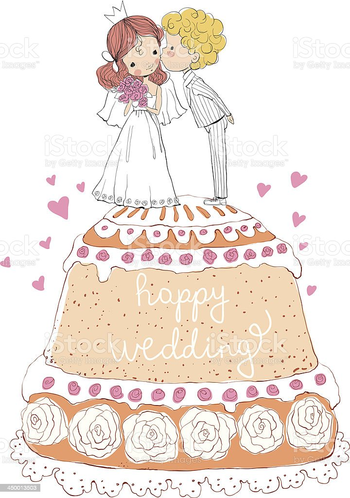 wedding invitation bride and groom on the cake royalty-free stock vector art