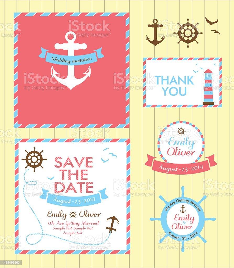 wedding invitation card nautical style royalty-free stock vector art