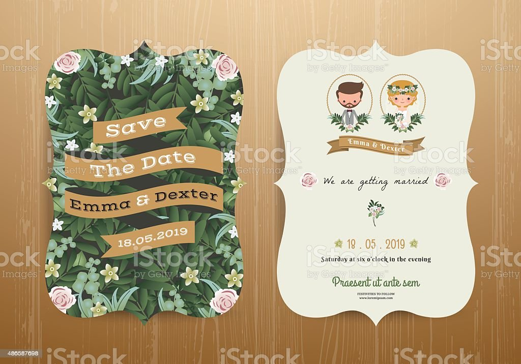 Wedding invitation card rustic cartoon bride and groom vector art illustration