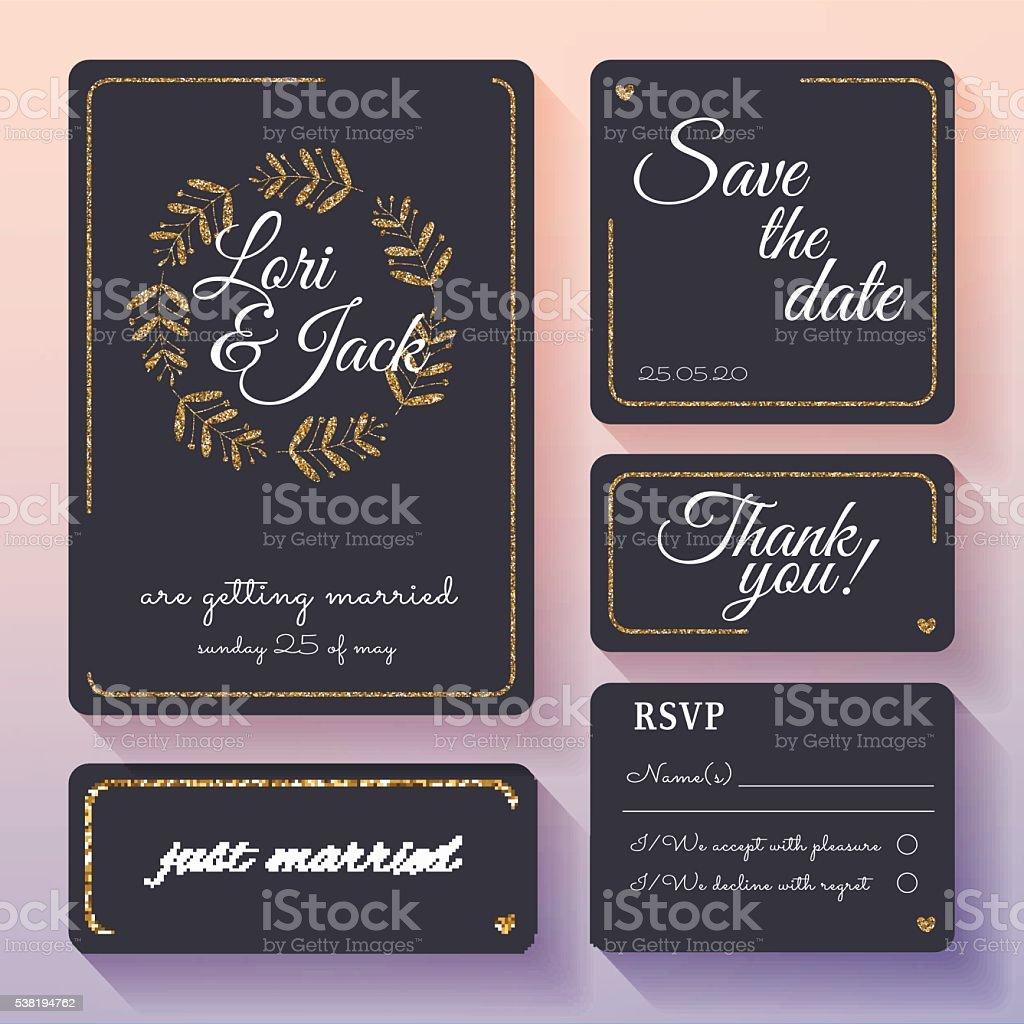 Wedding invitation card set with gold decor. vector art illustration