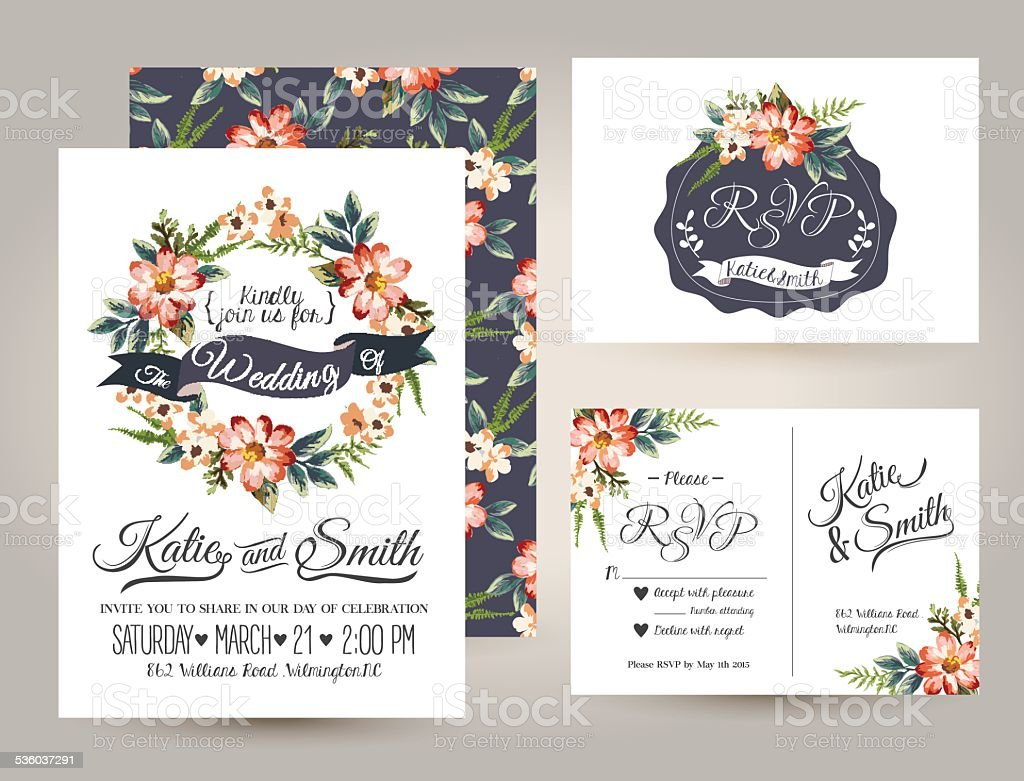 Wedding Invitation Card Suite With Daisy Flower Templates stock – Sample Wedding Brochure