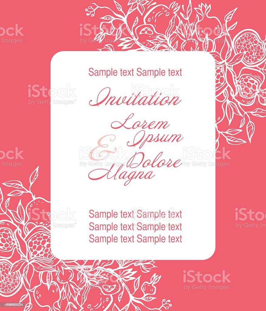 Wedding Invitation Card Suite With Pomgranates Vector Illustrat ...