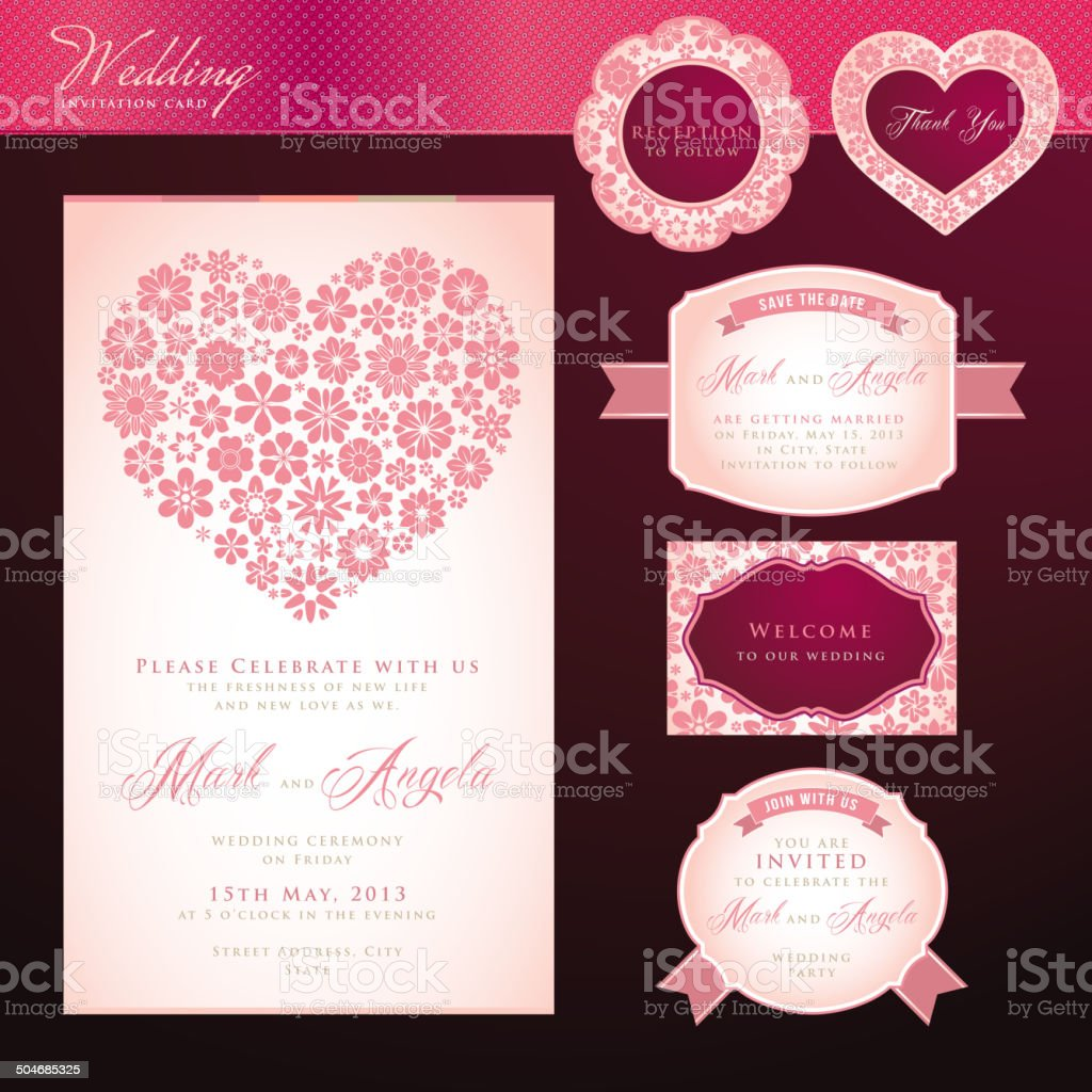 Wedding invitation card template and elements royalty-free stock vector art