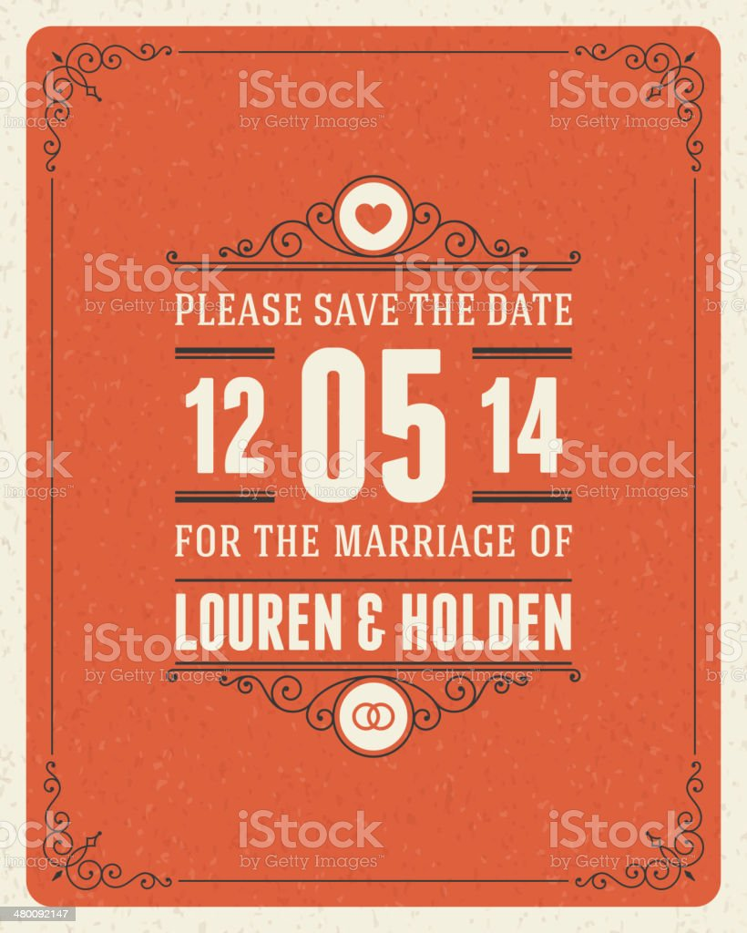 Wedding Invitation Card Template Vector Vintage Background stock ...