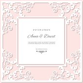 Wedding invitation card template with laser cutting frame. Pastel pink