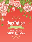 Wedding invitation card template with roses. Calligraphic text and vintage
