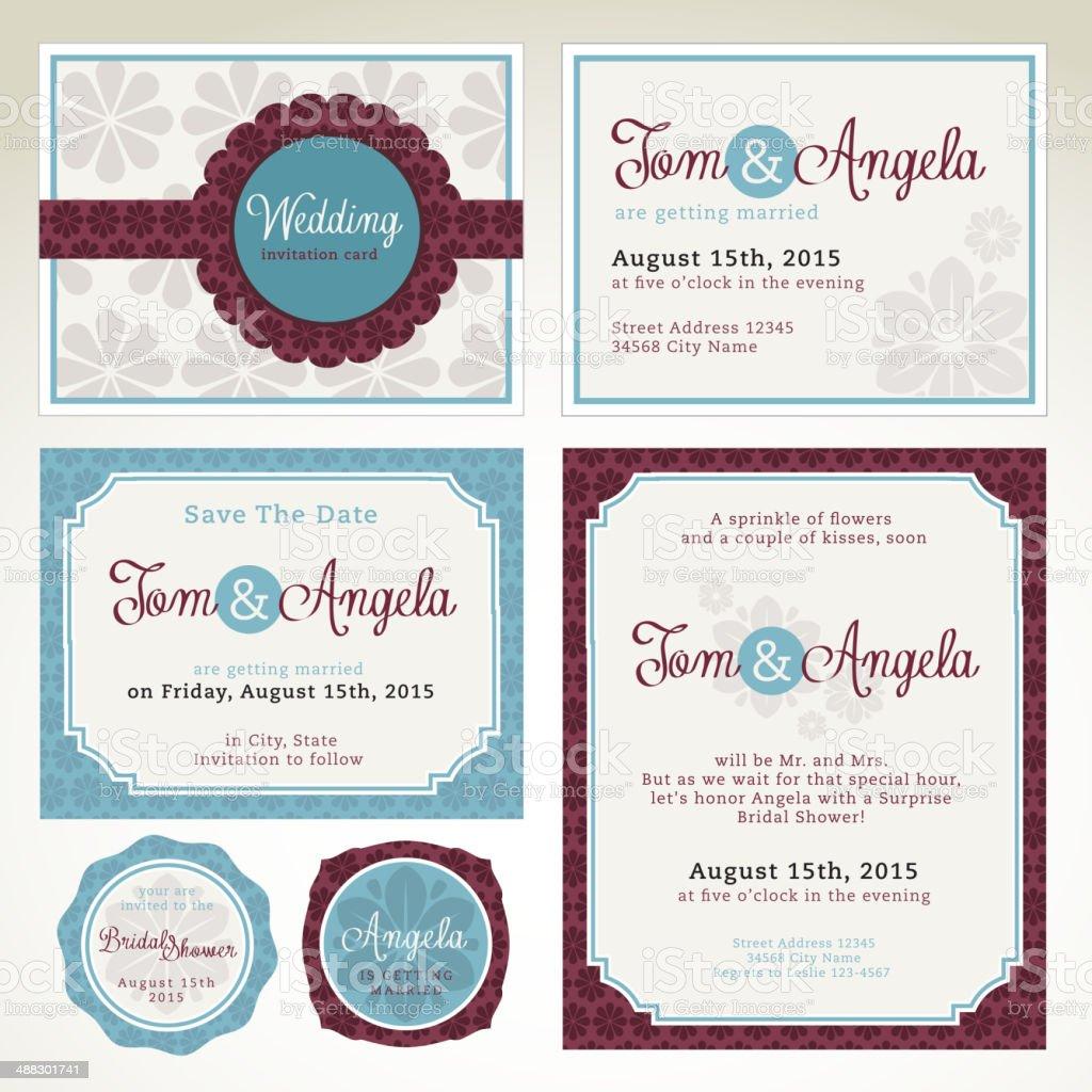 Wedding invitation card templates royalty-free stock vector art