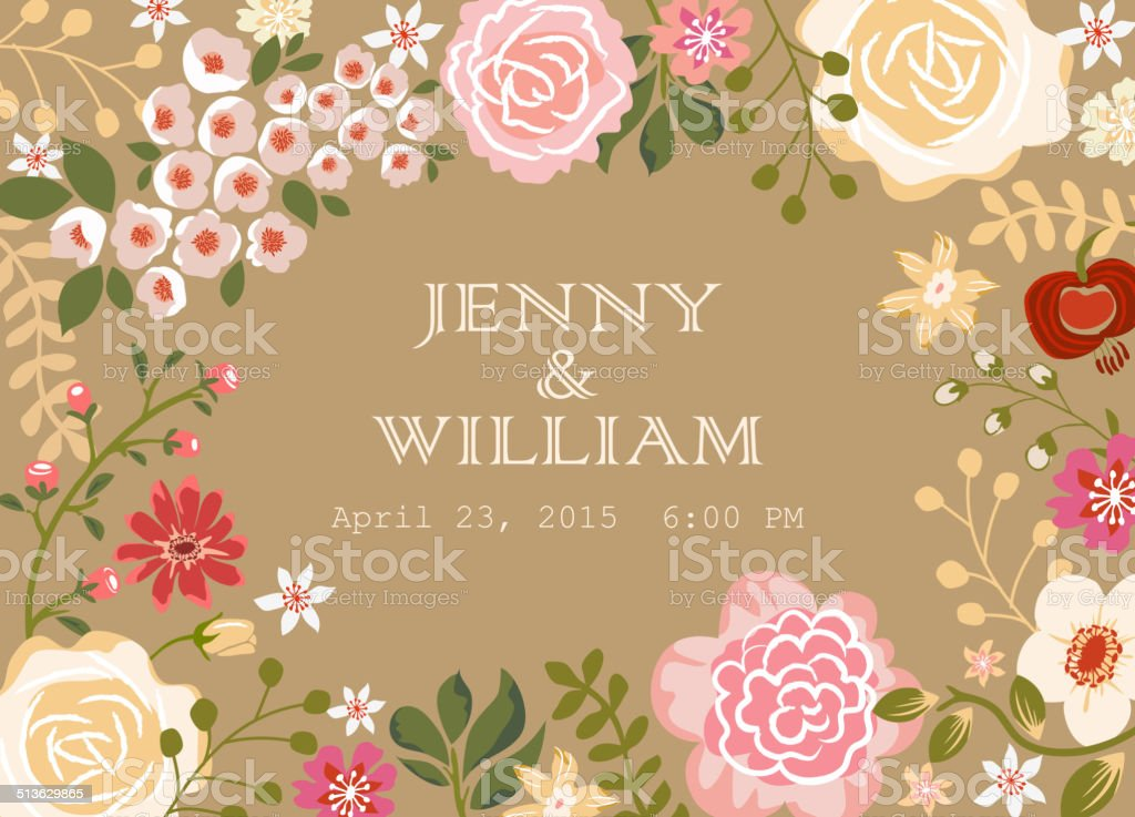 Wedding Invitation Card vector art illustration