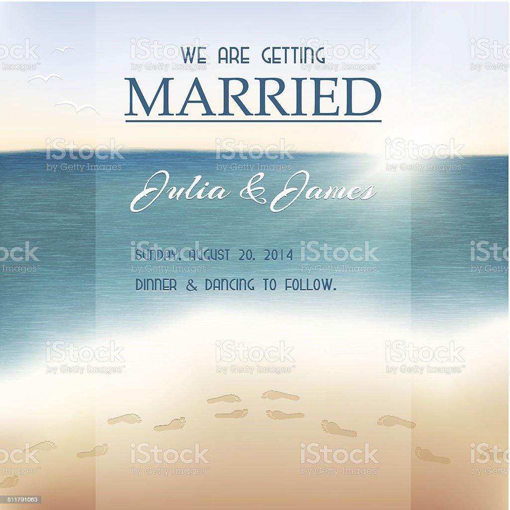 Wedding invitation card. View of the sea. vector art illustration