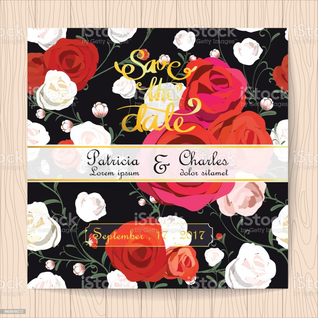 Wedding Invitation Card Vintage Style Rose Flower Pattern Templates ...