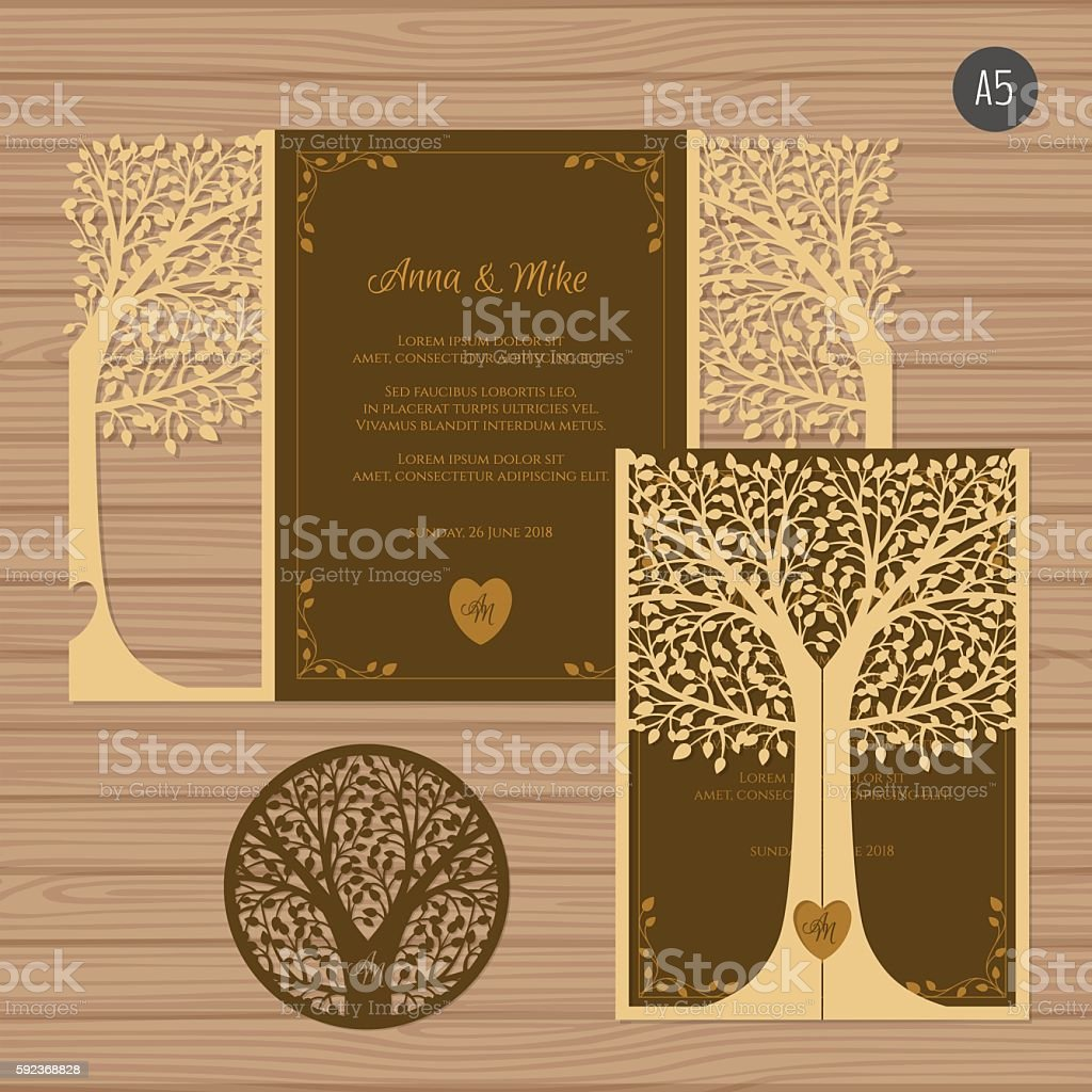 Wedding invitation card with laser cut envelope. vector art illustration