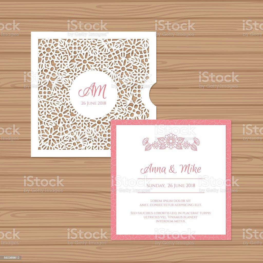 Wedding invitation card with laser cut envelope. vector art illustration