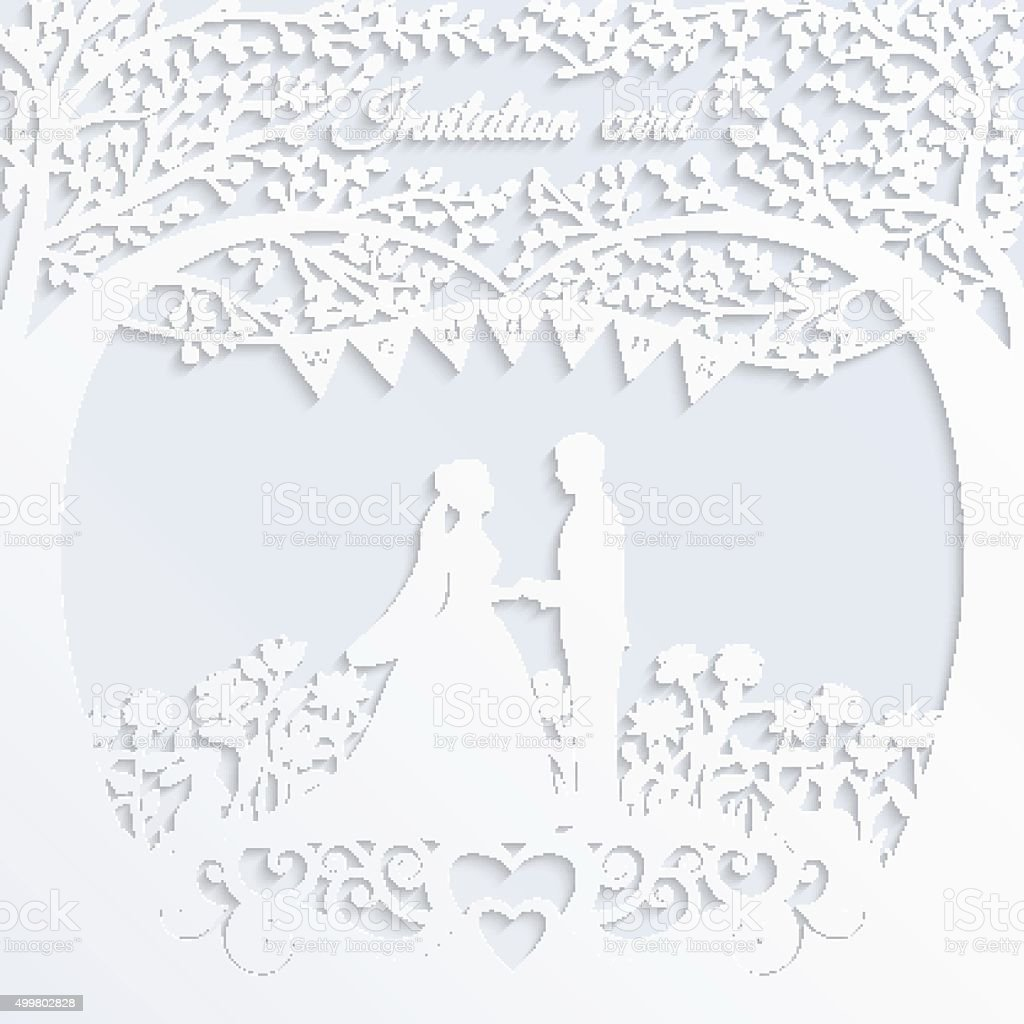 Wedding invitation card with silhouette bride and groom. vector art illustration