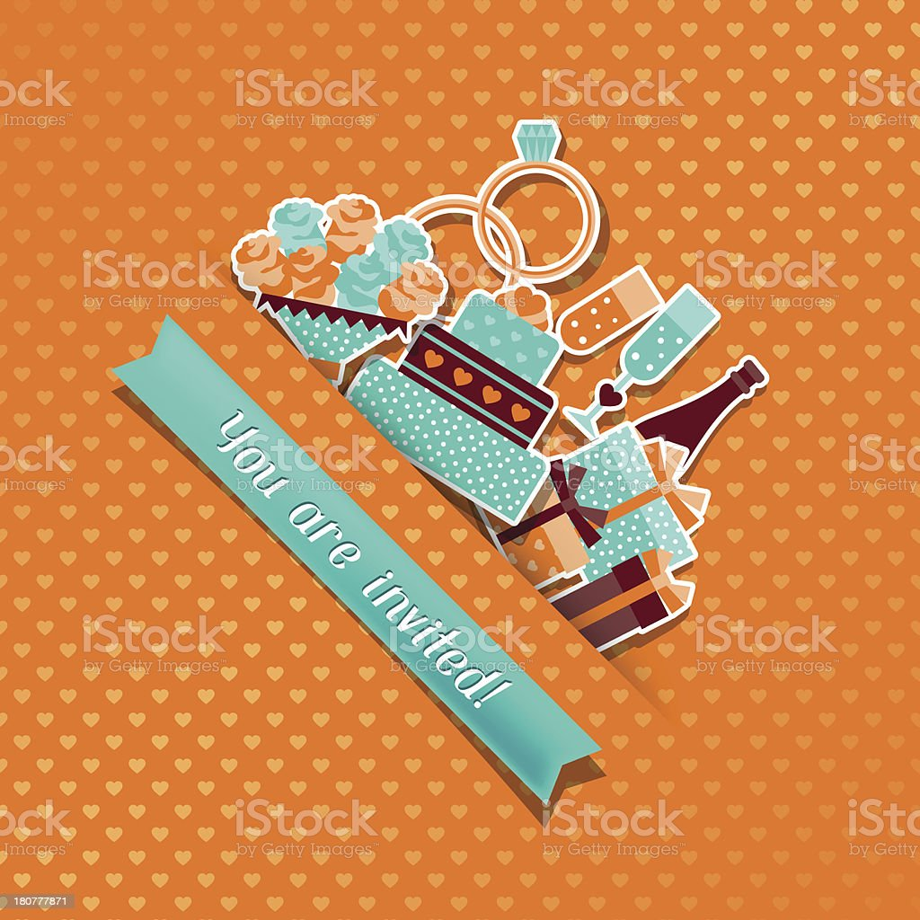 Wedding invitation card with stickers in retro style. royalty-free stock vector art