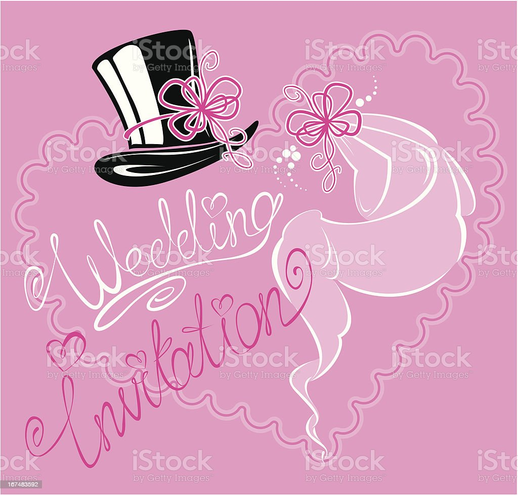 wedding invitation card with veil and groom hat royalty-free stock vector art