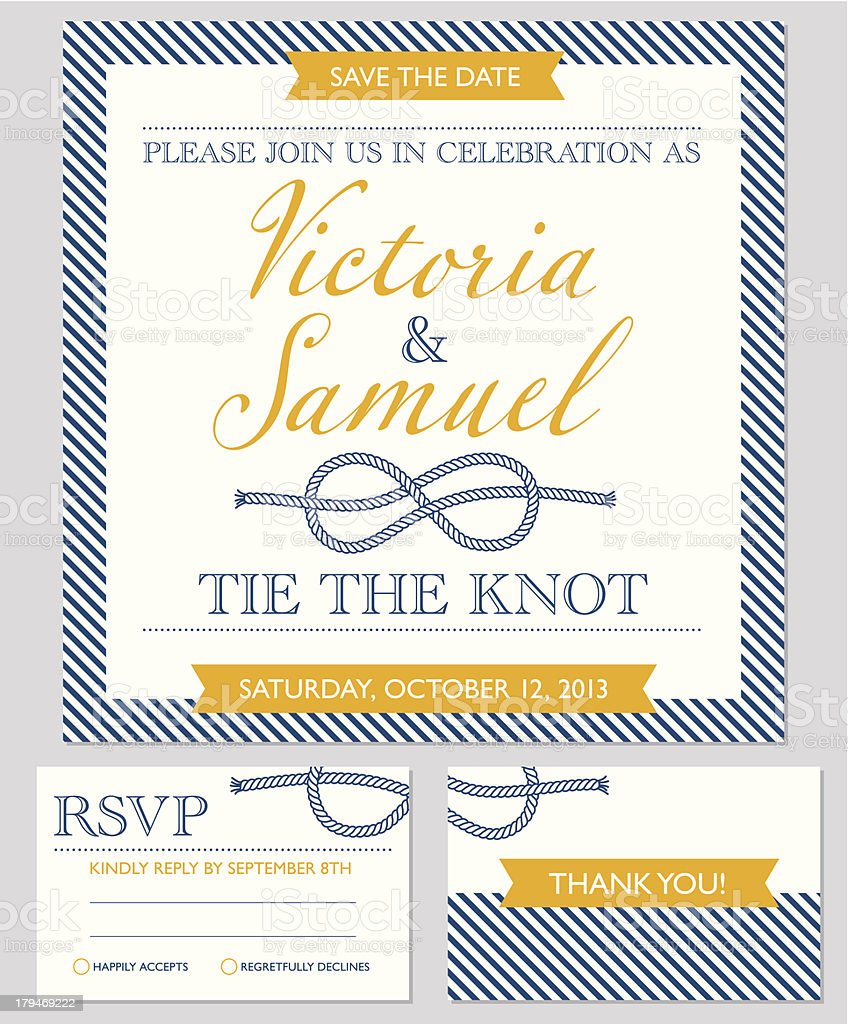 Wedding invitation cards template, knot royalty-free stock vector art