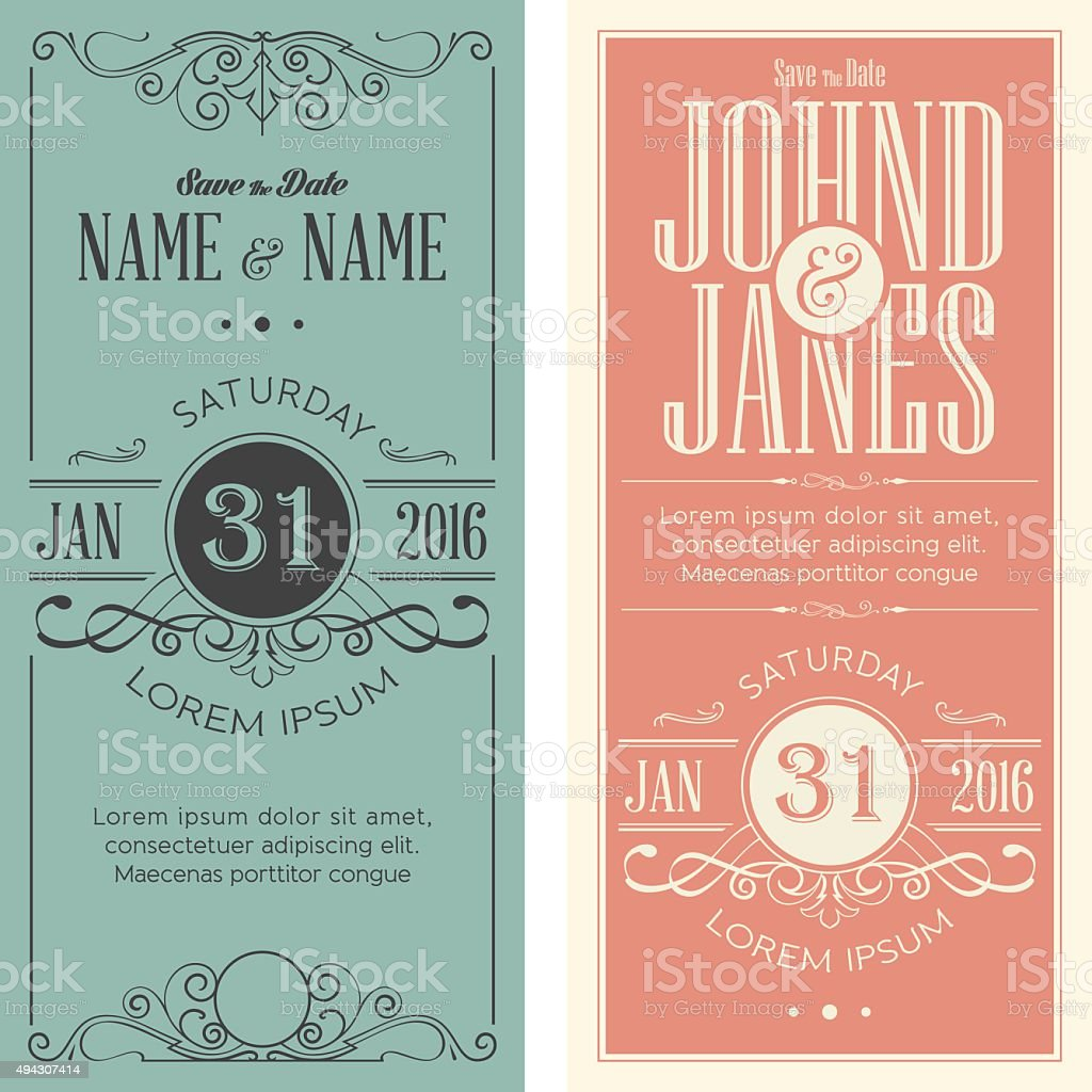 Wedding invitation cards templates vector art illustration