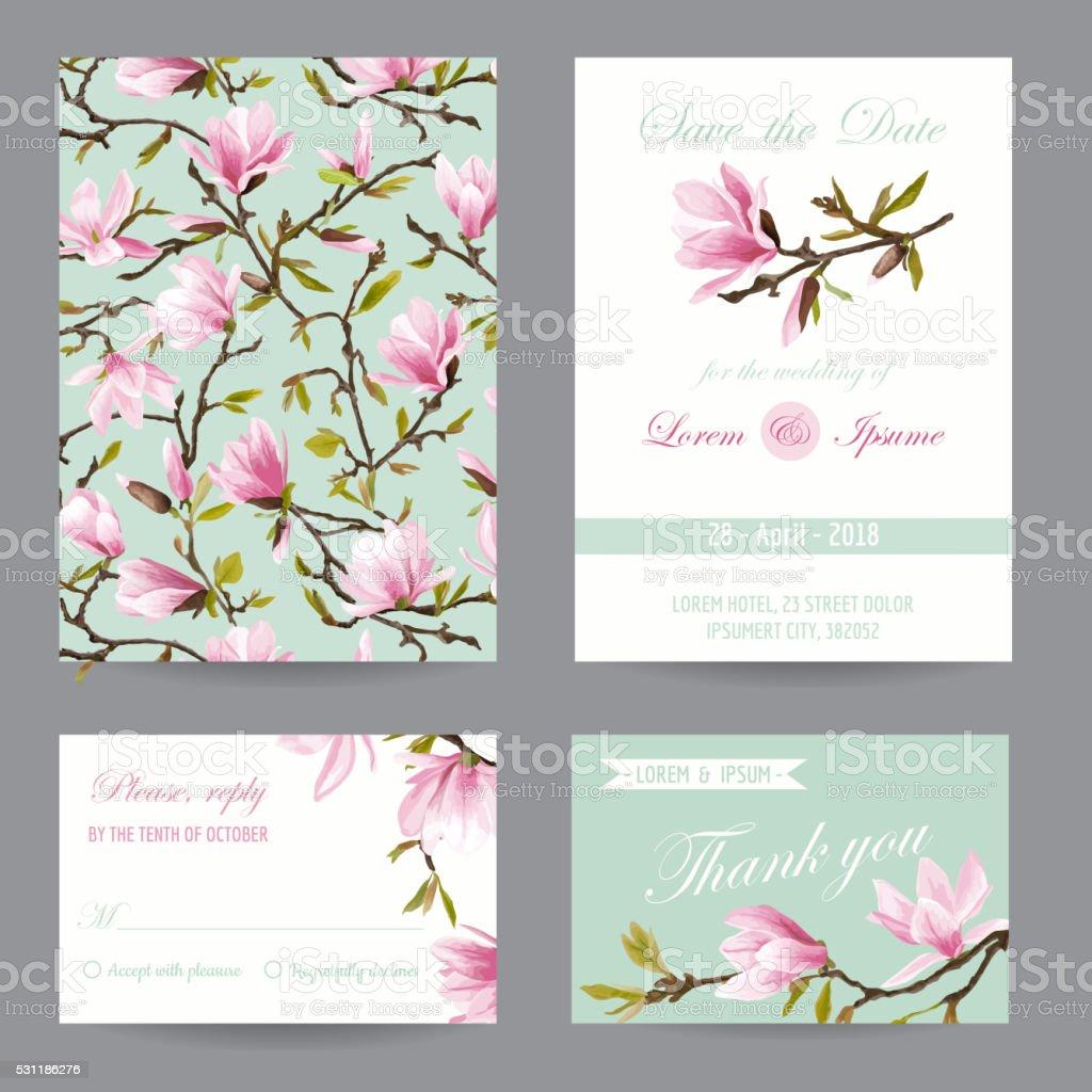Wedding Invitation. Congratulation Card Set. Magnolia Flowers vector art illustration