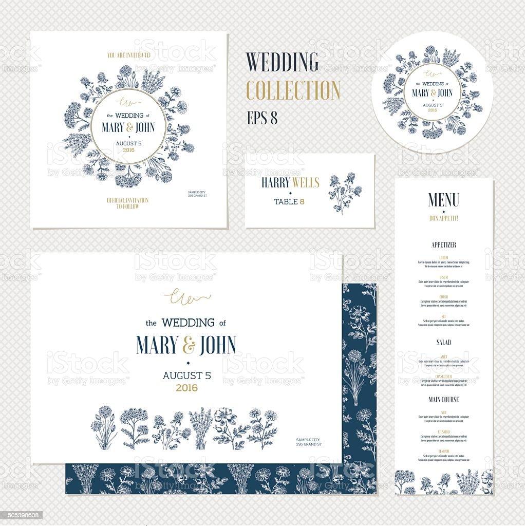 Wedding invitation design collection. Wedding identity. Vector illustration vector art illustration