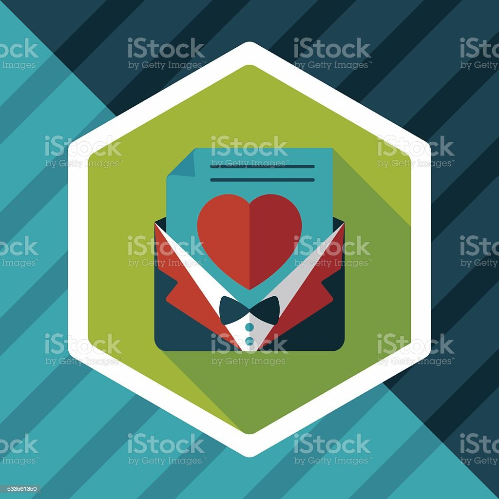 wedding invitation flat icon with long shadow,eps10 vector art illustration