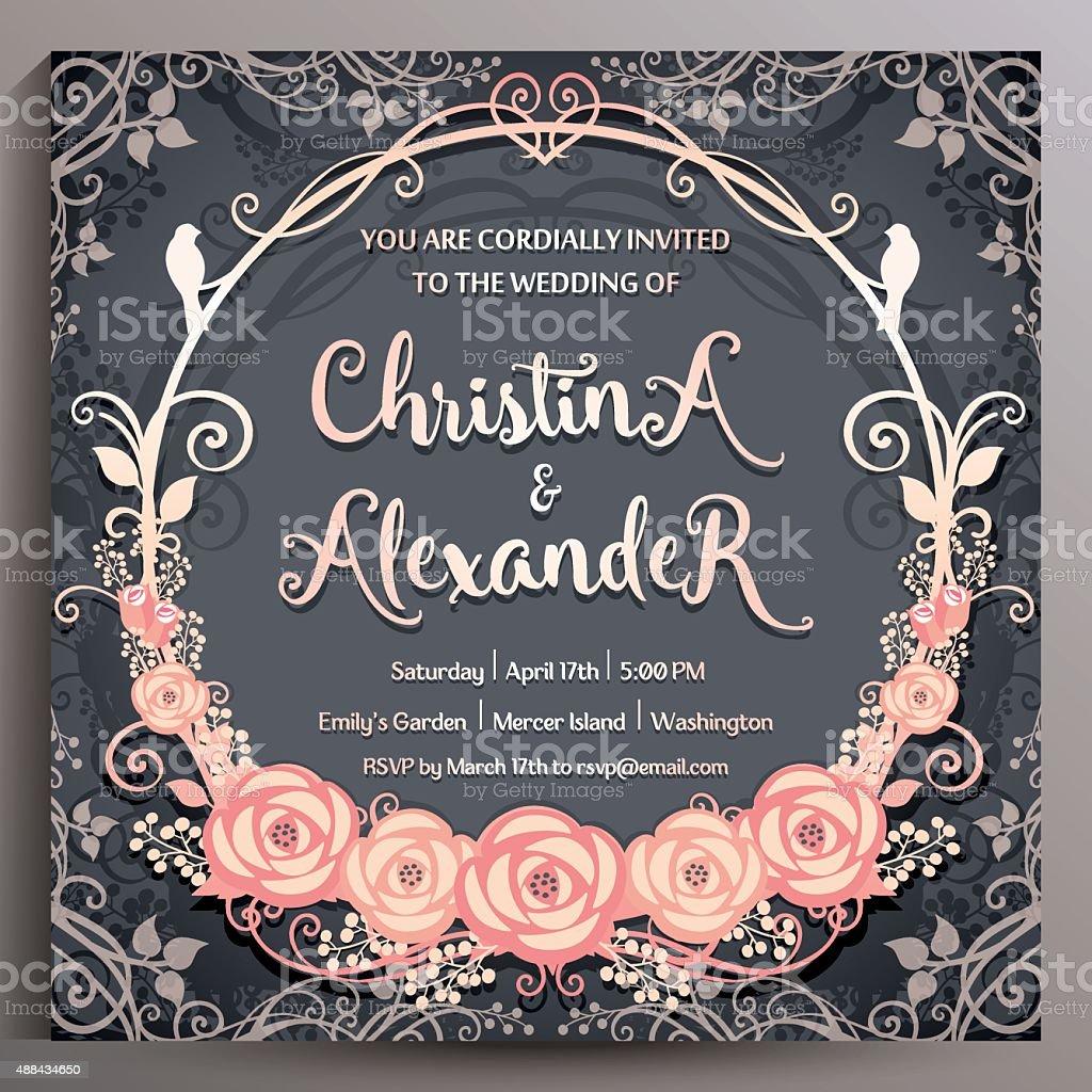 Wedding Invitation. Floral square card 14.5 cm vector art illustration