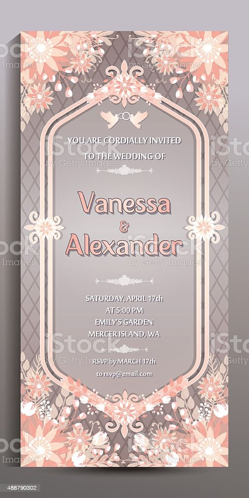 Wedding Invitation. Floral vertical card, size is 10x21 cm vector art illustration