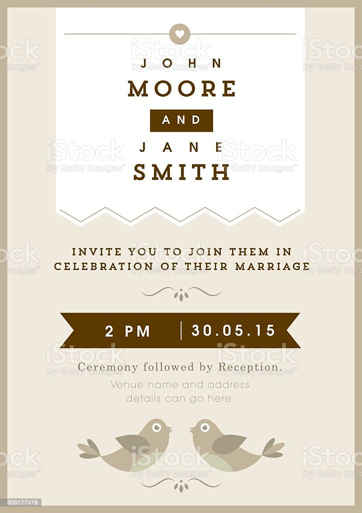 Wedding invitation gold love bird theme royalty-free stock vector art
