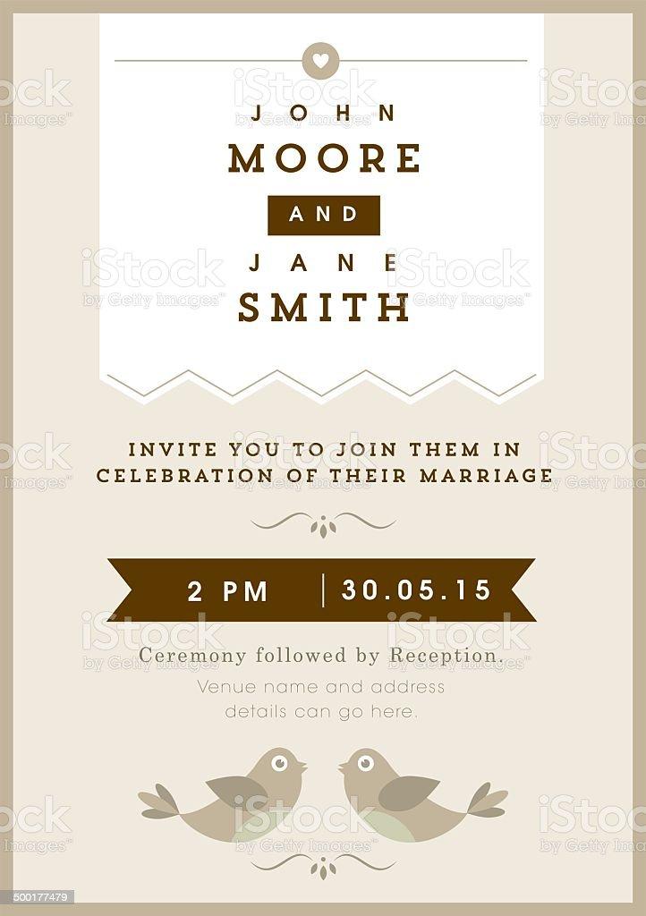 Wedding invitation gold love bird theme vector art illustration