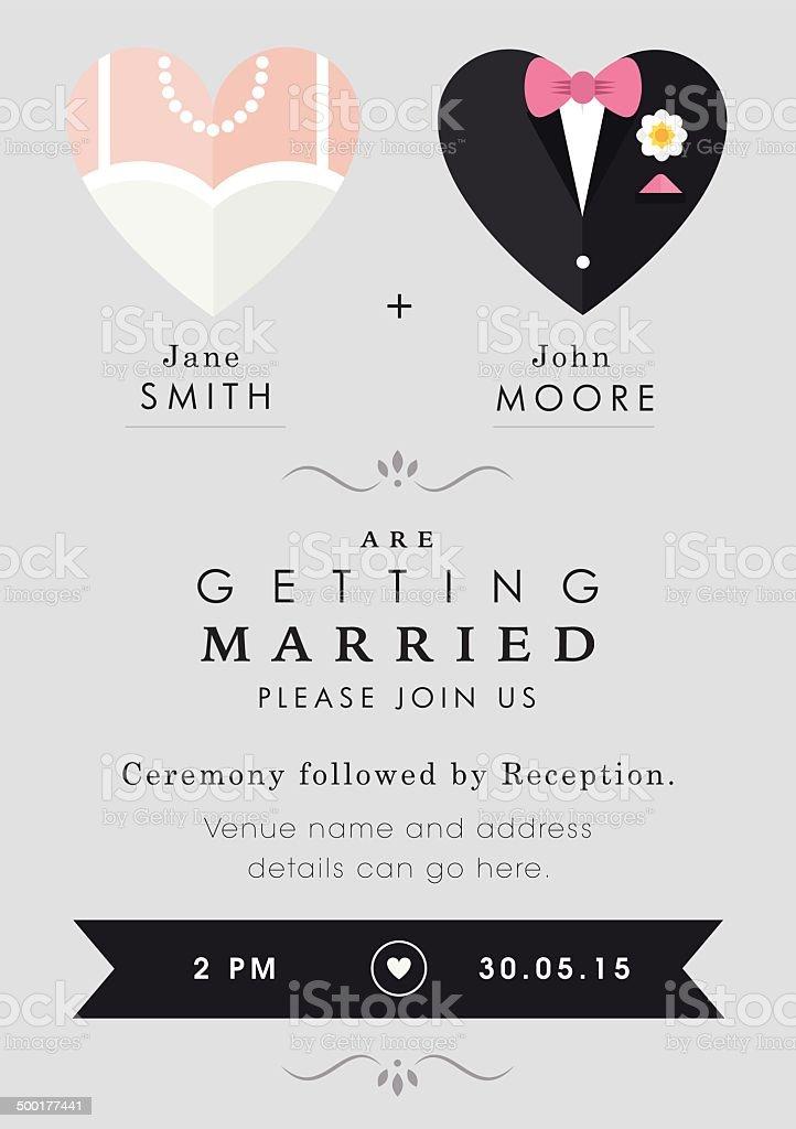 Wedding invitation heart theme vector art illustration