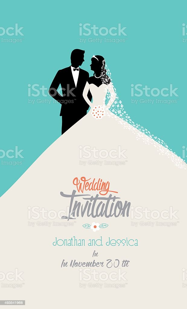 wedding invitation in flat style vector art illustration