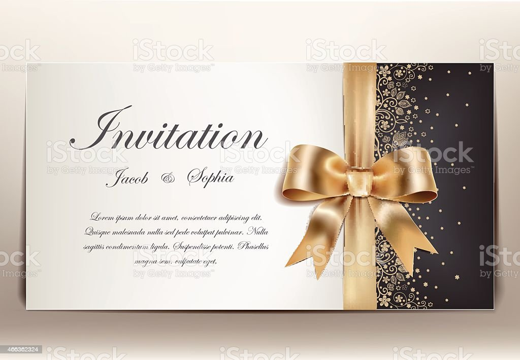 Wedding invitation in gold black and white theme vector art illustration
